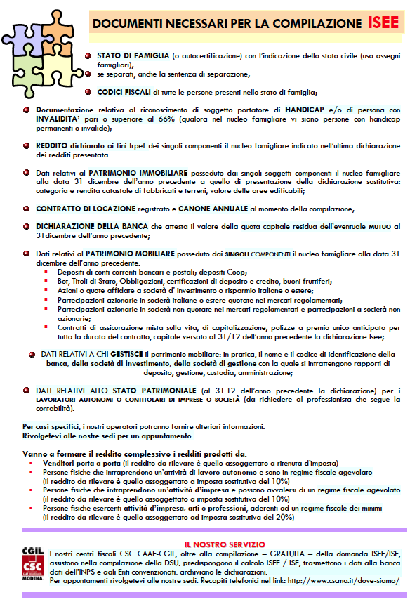 Isee elenco dei documenti c s c caf cgil modena for Documenti per 730