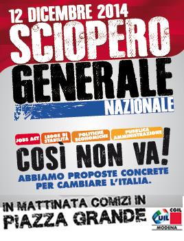 SCIOPERO GENERALE 12 DICEMBRE MANIFESTAZIONE PIAZZA GRANDE MODENA