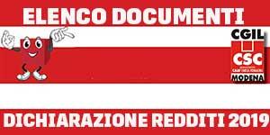 Elenco documenti dichiarazione redditi 2019